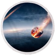 Meteorites On Their Way To Earth Round Beach Towel