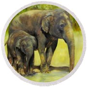 Thirsty, Methai And Baylor, Elephants  Round Beach Towel