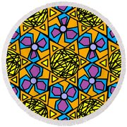 Round Beach Towel featuring the digital art Mexican Sun / African Violet by Elizabeth McTaggart
