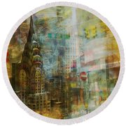 Mgl - City Collage - New York 04 Round Beach Towel by Joost Hogervorst