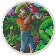Round Beach Towel featuring the painting Mi Futuro Y Mi Tierra by Oscar Ortiz