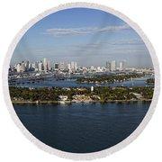 Miami And Star Island Skyline Round Beach Towel