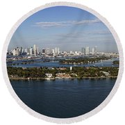 Miami And Star Island Skyline Round Beach Towel