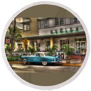 Miami Beach Art Deco 1 Round Beach Towel by Timothy Lowry