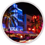 Miami Beach Ocean Drive Round Beach Towel