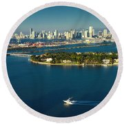 Miami City Biscayne Bay Skyline Round Beach Towel