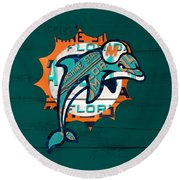 Miami Dolphins Football Team Retro Logo Florida License Plate Art Round Beach Towel