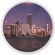 Miami Skyline Abstract IIi Round Beach Towel by Christiane Schulze Art And Photography