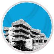 Miami Skyline Art Deco District - Ice Blue Round Beach Towel