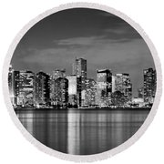 Miami Skyline At Dusk Black And White Bw Panorama Round Beach Towel