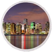 Miami Skyline At Dusk Sunset Panorama Round Beach Towel