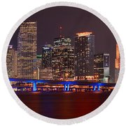 Miami Skyline At Night Panorama Color Round Beach Towel