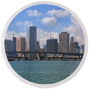 Miami Skyline Bridge Round Beach Towel by Manuel Lopez