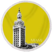 Miami Skyline Freedom Tower - Mustard Round Beach Towel