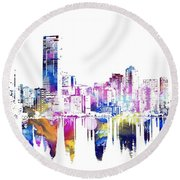 Miami Skyline Round Beach Towel by Doc Braham