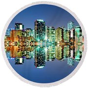Miami Skyline Panorama Round Beach Towel by Carsten Reisinger