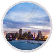 Miami Skyline Sunset Round Beach Towel by Manuel Lopez