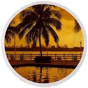 Miami South Beach Romance Round Beach Towel