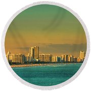 Miami Sunset Round Beach Towel by Olga Hamilton