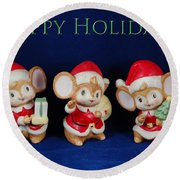 Mice Holiday Round Beach Towel
