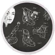 Michael Jackson Anti-gravity Shoe Patent Artwork Vintage Round Beach Towel by Nikki Marie Smith