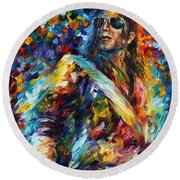 Michael Jackson - Palette Knife Oil Painting On Canvas By Leonid Afremov Round Beach Towel by Leonid Afremov