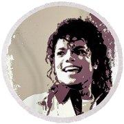 Michael Jackson Portrait Art Round Beach Towel