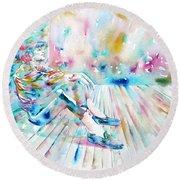 Michael Jackson - Watercolor Portrait.8 Round Beach Towel by Fabrizio Cassetta