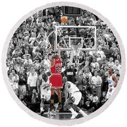Michael Jordan Buzzer Beater Round Beach Towel by Brian Reaves
