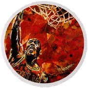 Michael Jordan Round Beach Towel by Maria Arango