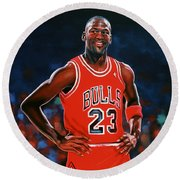 Michael Jordan Round Beach Towel by Paul Meijering