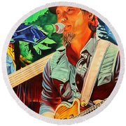 Round Beach Towel featuring the painting Michael Kang At Horning's Hideout by Joshua Morton
