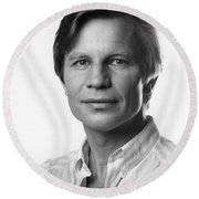Round Beach Towel featuring the photograph Michael York by Mark Greenberg