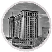 Michigan Central Station Round Beach Towel by Nicholas  Grunas
