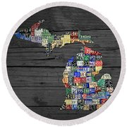 Michigan Counties State License Plate Map On Gray Wood Round Beach Towel