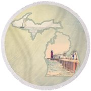 Michigan Mitten 2 Round Beach Towel by Emily Kay