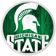 Michigan State Barn Door Round Beach Towel by Dan Sproul