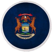 Michigan State Flag Art On Worn Canvas Round Beach Towel by Design Turnpike