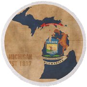 Michigan State Flag Map Outline With Founding Date On Worn Parchment Background Round Beach Towel
