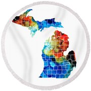Michigan State Map - Counties By Sharon Cummings Round Beach Towel by Sharon Cummings