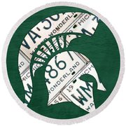 Michigan State Spartans Sports Retro Logo License Plate Fan Art Round Beach Towel by Design Turnpike