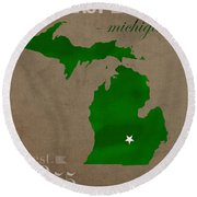 Michigan State University Spartans East Lansing College Town State Map Poster Series No 004 Round Beach Towel