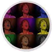 Mick Jagger Pop Art Print Round Beach Towel