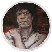 Mick Jagger - Street Fighting Man Round Beach Towel