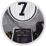Mickey Mantle Round Beach Towel by Allen Beatty