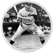 Mickey Mantle At Bat Round Beach Towel by Underwood Archives