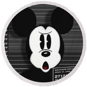 Mickey Mouse Disney Mug Shot Round Beach Towel