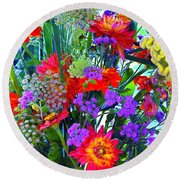 Round Beach Towel featuring the photograph Mid August Bouquet by Byron Varvarigos