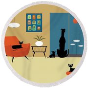 Mid Century Dogs And Cats Round Beach Towel