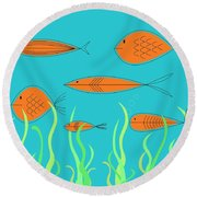 Mid Century Fish 2 Round Beach Towel